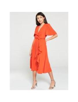 Vienna Wrap Frill Midi Dress   Orange by V By Very