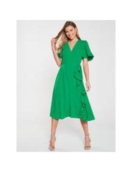 Vienna Wrap Frill Midi Dress   Green by V By Very
