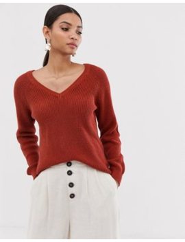 Vila Chunky Knit V Neck Jumper by Vila