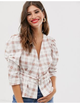 Asos Design Textured Wrap Top With Belt Detail In Check Print by Asos Design