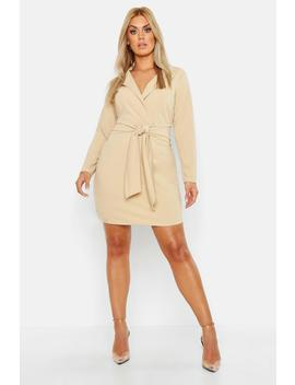 Plus Belted Shirt Dress by Boohoo