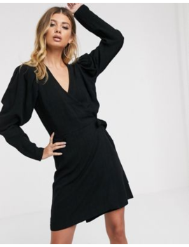 Asos Design Mini Wrap Dress With Puff Sleeves by Asos Design