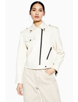 **White Leather Biker Jacket By Boutique by Topshop