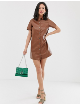 Wednesday's Girl Relaxed Shirt Dress In Faux Leather by Wednesday's Girl