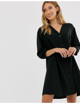 Monki V Neck Button Through Mini Smock Dress In Black by Monki