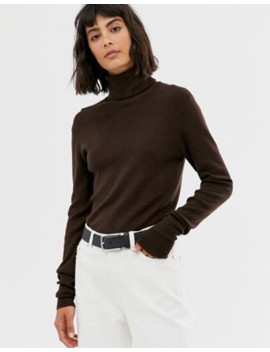 Weekday Roll Neck Top In Dark Brown by Weekday