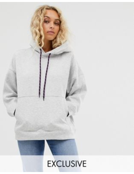 Weekday Hoodie In Grey With Purple Drawstring by Weekday