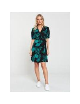 Jersey Wrap Skater Dress   Palm Print by V By Very