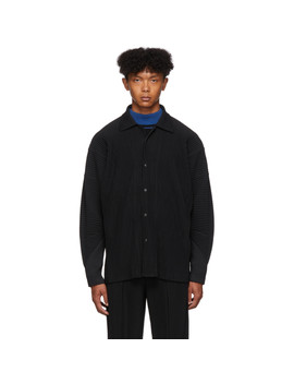 Black Pleated Long Sleeve Shirt by Homme PlissÉ Issey Miyake
