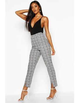 Split Front Dogtooth Check Skinny Trousers by Boohoo