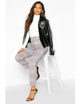Tonal Check Ankle Grazer Trouser by Boohoo