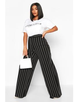 Plus Stripe High Waist Tailord Trousers by Boohoo