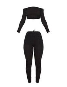 Black Bardot Knit Set  by Prettylittlething