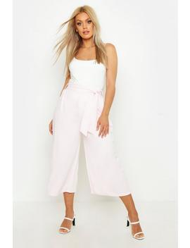 Plus Self Belt Structured Culotte Trouser by Boohoo