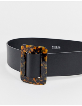 Pieces Tortoiseshell Waisted Black Belt by Pieces