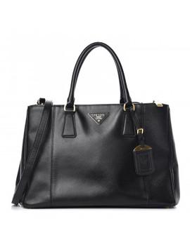 Prada Saffiano Medium Galleria Double Zip Tote Black by Prada