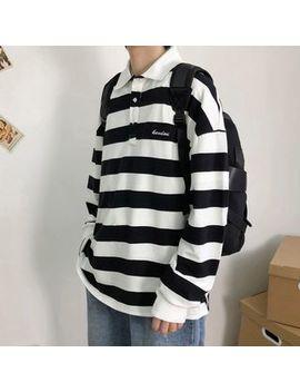 Sartho   Striped Oversize Long Sleeve Polo Shirt by Sartho