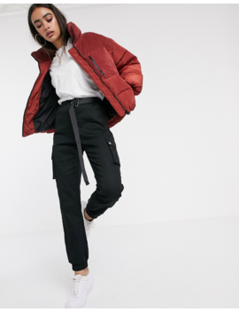 Asos Design Padded Jacket With Cord Patching In Red by Asos Design