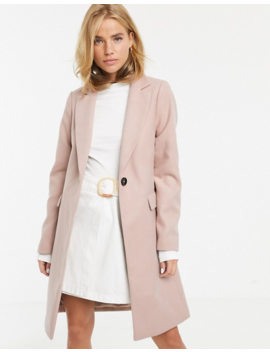New Look Button Front Coat In Light Pink by New Look