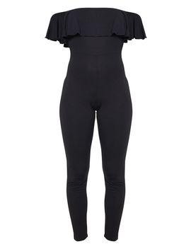 Black Bardot Frill Jersey Jumpsuit by Prettylittlething