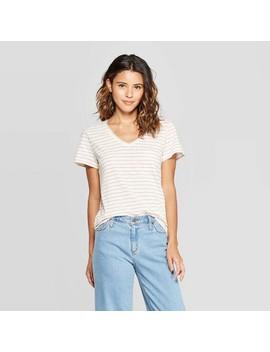 Women's Striped Monterey Pocket V Neck Short Sleeve T Shirt   Universal Thread by Neck Short Sleeve T
