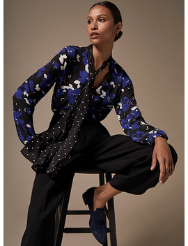 Patterned Recycled Crepe Tie Neck Blouse by Contemporaine