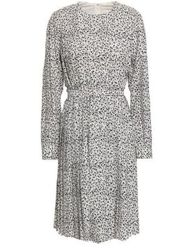 Belted Pleated Floral Print Crepe Dress by Mikael Aghal