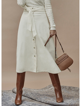 Corduroy Buttoned Midi Skirt by Contemporaine