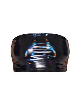 Black Hologram Contrast Panel Bandeau Crop Top by Prettylittlething
