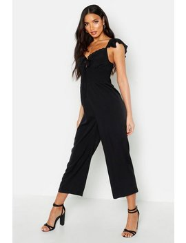 Shirred Waist Ruffle Sleeve Culotte Jumpsuit by Boohoo
