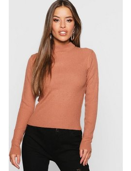 Petite Ribbed Roll Neck Jumper by Boohoo