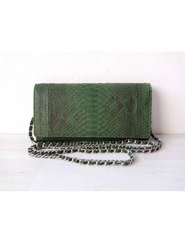 Ellen Genuine Python Women Chain Wallet In Green Pattern Color Gifts For Her Birthday Gift by Etsy