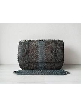 Maya Genuine Exotic Python Skin Women Clutch Bag With Crossbody Chain In Gray Pattern Color Birthday Gift For Her by Etsy