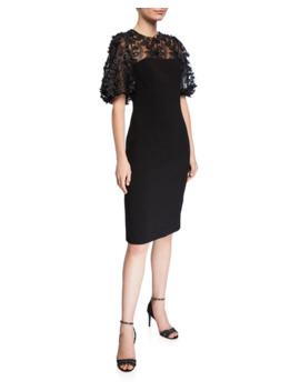 Carmen Marc Valvo Infusion 3 D Embellished Sleeve Crepe Dress by Carmen Marc Valvo Infusion