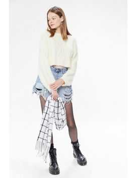 Uo Lennox Fuzzy Cable Knit Sweater by Urban Outfitters