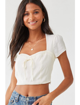 Sweetheart Pleated Crop Top by Forever 21