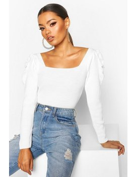 Puff Sleeve Knitted Top by Boohoo
