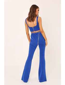 Blue Scuba Seam Front Flared Trousers by I Saw It First