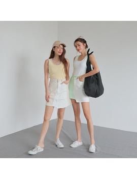 Raw Edged Hem Two Tone Mini Skirt by Stylenanda