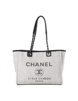 Chanel Woven Straw Raffia Small Deauville Tote Grey by Chanel