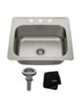 Kraus Premier Kitchen Sink 25 In X 22 In Stainless Steel Single Basin Drop In 3 Hole Residential Kitchen Sink by Lowe's