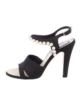 Pearl Accented Suede Sandals by Chanel