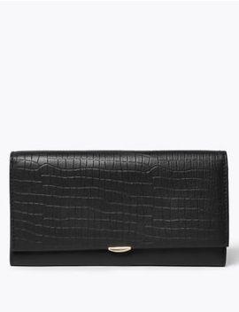 Leather Croc Effect Cardsafe™ Purse by Marks & Spencer