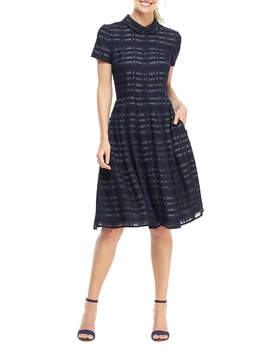 Mackenzie Windowpane Jacquard Shirtdress by Gal Meets Glam Collection