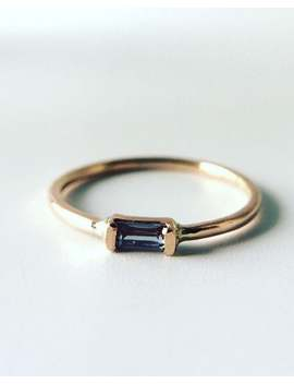 Alexandrite Baguette Ring, 14k Rose Gold, Art Deco, June Birthstone, Rectangle Stone, Minimalist Engagement, Color Change Gemstone by Etsy