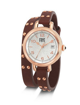 Ladies' Melissa Stud Double Wrap In Cognac Leather Watch by General