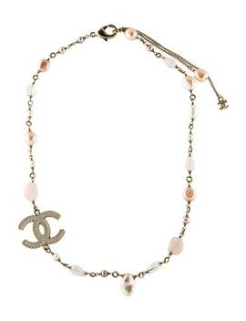 Rose Quartz & Pearl Cc Logo Necklace by Chanel