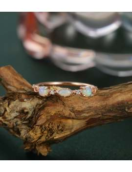 Opal Wedding Band 14 K Rose Gold Marquise Cut Unique Vintage Half Eternity Dainty Women Stacking Matching Anniversary Bridal Gift For Her by Etsy