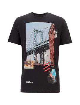 Regular Fit T Shirt With Mixed Printing Techniques by Boss