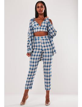 Blue Co Ord Plaid Print Cigarette Trousers by Missguided